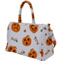 Funny Spooky Halloween Pumpkins Pattern White Orange Duffel Travel Bag View1