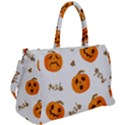 Funny Spooky Halloween Pumpkins Pattern White Orange Duffel Travel Bag View2