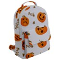 Funny Spooky Halloween Pumpkins Pattern White Orange Flap Pocket Backpack (Large) View2