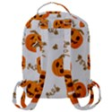 Funny Spooky Halloween Pumpkins Pattern White Orange Flap Pocket Backpack (Large) View3