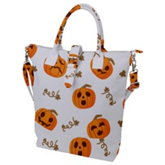 Funny Spooky Halloween Pumpkins Pattern White Orange Buckle Top Tote Bag by HalloweenParty
