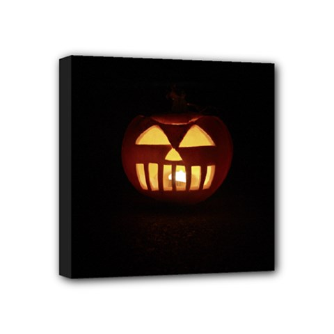 Funny Spooky Scary Halloween Pumpkin Jack O Lantern Mini Canvas 4  x 4  (Stretched)