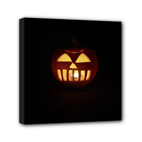 Funny Spooky Scary Halloween Pumpkin Jack O Lantern Mini Canvas 6  X 6  (stretched)