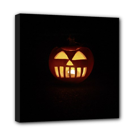 Funny Spooky Scary Halloween Pumpkin Jack O Lantern Mini Canvas 8  X 8  (stretched)