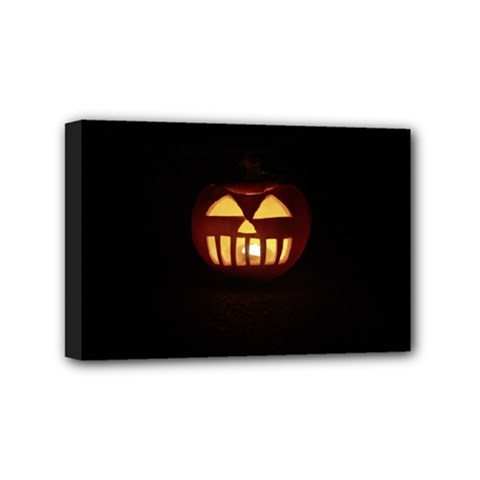 Funny Spooky Scary Halloween Pumpkin Jack O Lantern Mini Canvas 6  x 4  (Stretched)