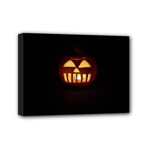 Funny Spooky Scary Halloween Pumpkin Jack O Lantern Mini Canvas 7  x 5  (Stretched)