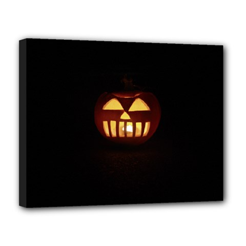 Funny Spooky Scary Halloween Pumpkin Jack O Lantern Canvas 14  X 11  (stretched) by HalloweenParty