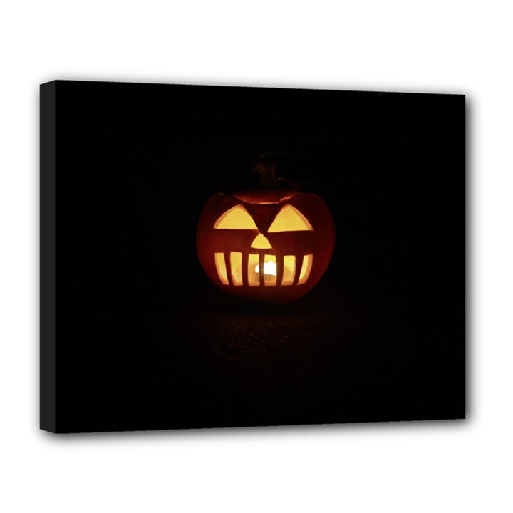 Funny Spooky Scary Halloween Pumpkin Jack O Lantern Canvas 14  x 11  (Stretched)