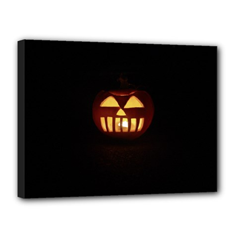 Funny Spooky Scary Halloween Pumpkin Jack O Lantern Canvas 16  x 12  (Stretched)
