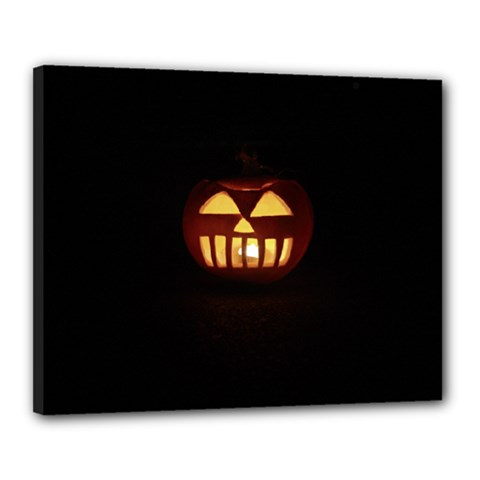 Funny Spooky Scary Halloween Pumpkin Jack O Lantern Canvas 20  x 16  (Stretched)