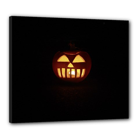 Funny Spooky Scary Halloween Pumpkin Jack O Lantern Canvas 24  x 20  (Stretched)