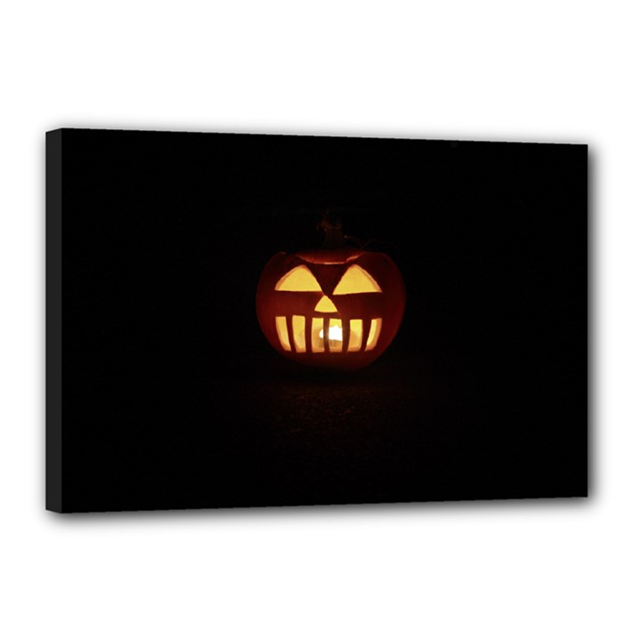 Funny Spooky Scary Halloween Pumpkin Jack O Lantern Canvas 18  x 12  (Stretched)