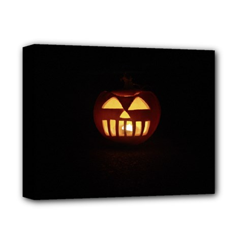 Funny Spooky Scary Halloween Pumpkin Jack O Lantern Deluxe Canvas 14  x 11  (Stretched)