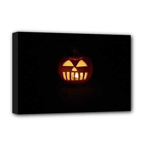 Funny Spooky Scary Halloween Pumpkin Jack O Lantern Deluxe Canvas 18  x 12  (Stretched)