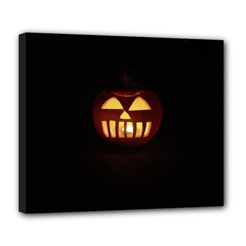 Funny Spooky Scary Halloween Pumpkin Jack O Lantern Deluxe Canvas 24  x 20  (Stretched)