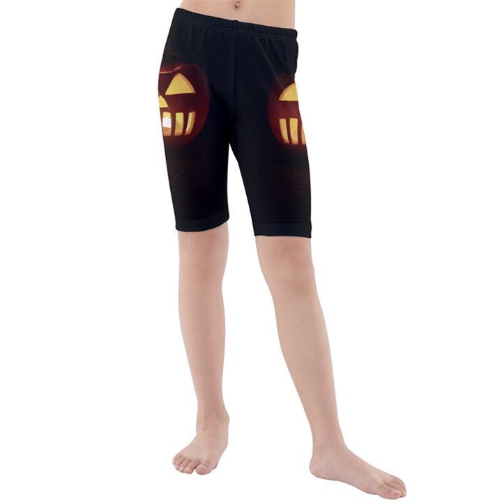 Funny Spooky Scary Halloween Pumpkin Jack O Lantern Kids  Mid Length Swim Shorts