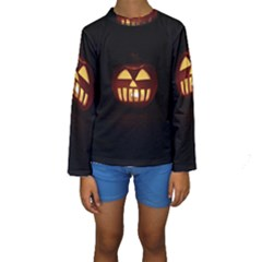 Funny Spooky Scary Halloween Pumpkin Jack O Lantern Kids  Long Sleeve Swimwear