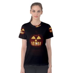 Funny Spooky Scary Halloween Pumpkin Jack O Lantern Women s Cotton Tee