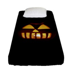 Funny Spooky Scary Halloween Pumpkin Jack O Lantern Fitted Sheet (single Size) by HalloweenParty