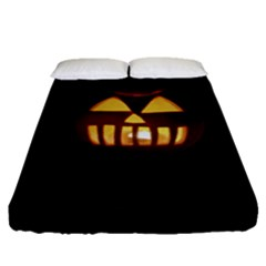 Funny Spooky Scary Halloween Pumpkin Jack O Lantern Fitted Sheet (queen Size)