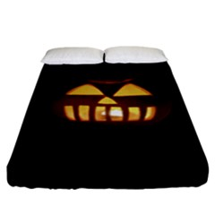Funny Spooky Scary Halloween Pumpkin Jack O Lantern Fitted Sheet (king Size)