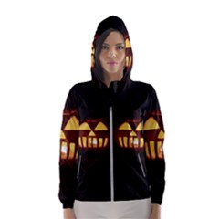 Funny Spooky Scary Halloween Pumpkin Jack O Lantern Hooded Windbreaker (women)
