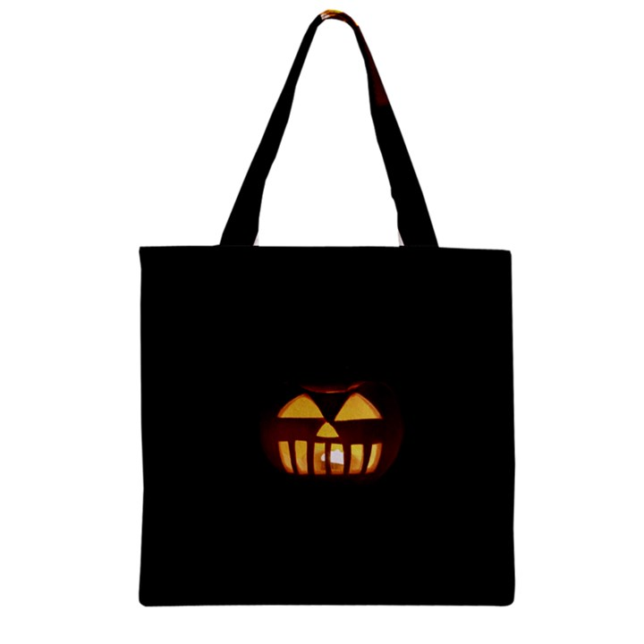 Funny Spooky Scary Halloween Pumpkin Jack O Lantern Zipper Grocery Tote Bag
