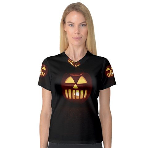 Funny Spooky Scary Halloween Pumpkin Jack O Lantern V-neck Sport Mesh Tee by HalloweenParty