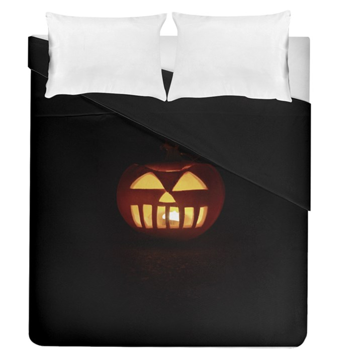 Funny Spooky Scary Halloween Pumpkin Jack O Lantern Duvet Cover Double Side (Queen Size)