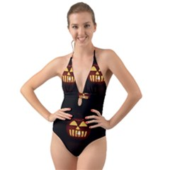 Funny Spooky Scary Halloween Pumpkin Jack O Lantern Halter Cut Out One Piece Swimsuit