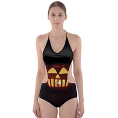 Funny Spooky Scary Halloween Pumpkin Jack O Lantern Cut-Out One Piece Swimsuit