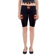 Funny Spooky Scary Halloween Pumpkin Jack O Lantern Yoga Cropped Leggings