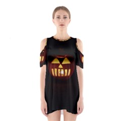 Funny Spooky Scary Halloween Pumpkin Jack O Lantern Shoulder Cutout One Piece Dress