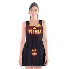 Funny Spooky Scary Halloween Pumpkin Jack O Lantern Scoop Neck Skater Dress