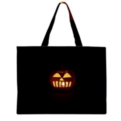 Funny Spooky Scary Halloween Pumpkin Jack O Lantern Zipper Large Tote Bag by HalloweenParty
