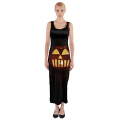 Funny Spooky Scary Halloween Pumpkin Jack O Lantern Fitted Maxi Dress