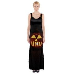 Funny Spooky Scary Halloween Pumpkin Jack O Lantern Maxi Thigh Split Dress