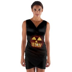 Funny Spooky Scary Halloween Pumpkin Jack O Lantern Wrap Front Bodycon Dress