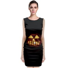 Funny Spooky Scary Halloween Pumpkin Jack O Lantern Classic Sleeveless Midi Dress