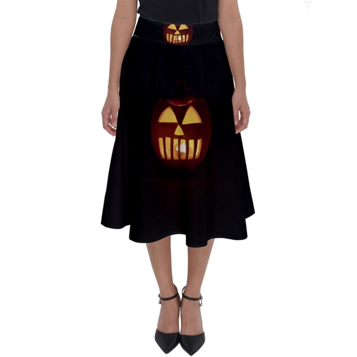 Funny Spooky Scary Halloween Pumpkin Jack O Lantern Perfect Length Midi Skirt