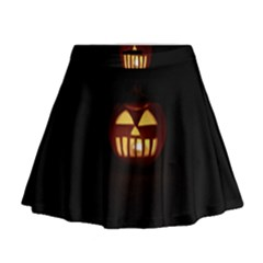 Funny Spooky Scary Halloween Pumpkin Jack O Lantern Mini Flare Skirt by HalloweenParty