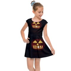 Funny Spooky Scary Halloween Pumpkin Jack O Lantern Kids Cap Sleeve Dress