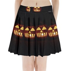 Funny Spooky Scary Halloween Pumpkin Jack O Lantern Pleated Mini Skirt