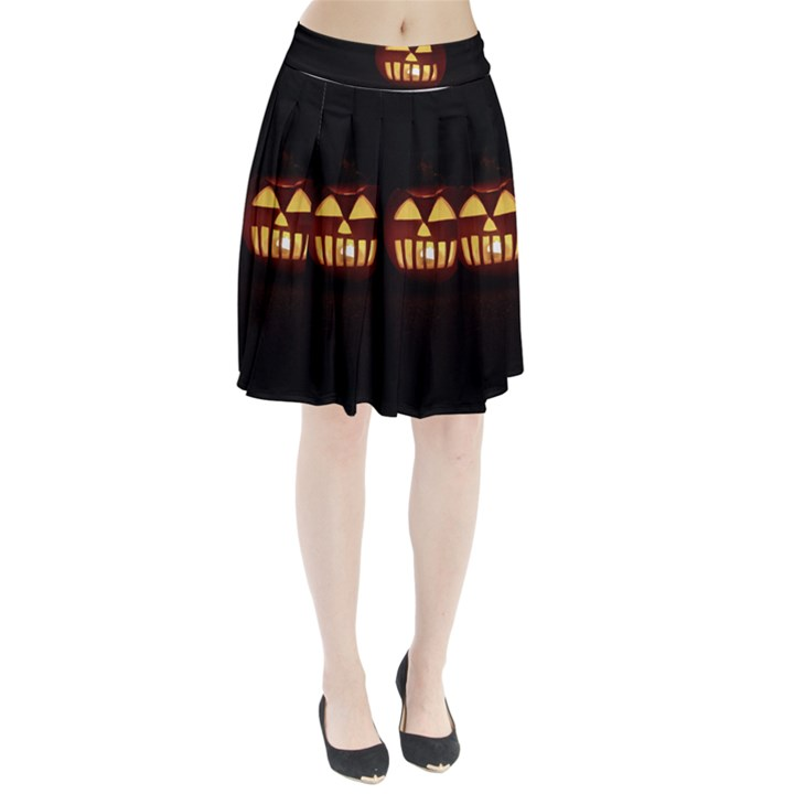 Funny Spooky Scary Halloween Pumpkin Jack O Lantern Pleated Skirt
