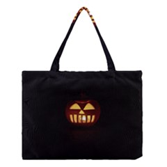 Funny Spooky Scary Halloween Pumpkin Jack O Lantern Medium Tote Bag by HalloweenParty