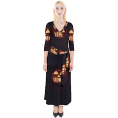Funny Spooky Scary Halloween Pumpkin Jack O Lantern Quarter Sleeve Wrap Maxi Dress