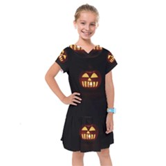 Funny Spooky Scary Halloween Pumpkin Jack O Lantern Kids  Drop Waist Dress