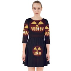 Funny Spooky Scary Halloween Pumpkin Jack O Lantern Smock Dress