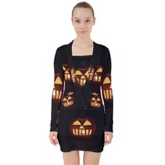 Funny Spooky Scary Halloween Pumpkin Jack O Lantern V Neck Bodycon Long Sleeve Dress