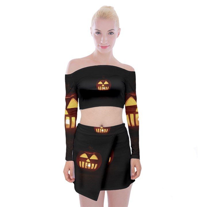 Funny Spooky Scary Halloween Pumpkin Jack O Lantern Off Shoulder Top with Mini Skirt Set